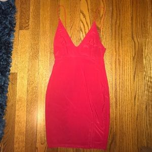Dresses & Skirts - Red Slinky Bodycon Dress with Slit
